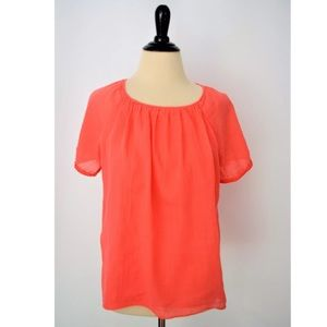 ZARA BASIC Coral Crochet Lace Peasant BLOUSE Top
